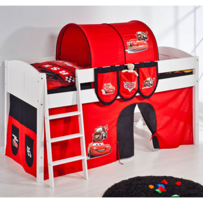 An Image of Hilla Children Bed In White With Disney Cars Curtains