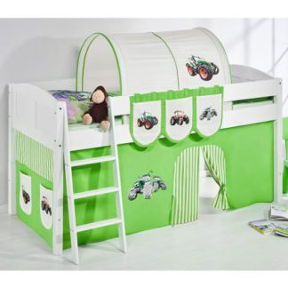 An Image of Hilla Children Bed In White With Tractor Green Curtains