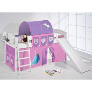 An Image of Lilla Slide Children Bed In White With Frozen Purple Curtains