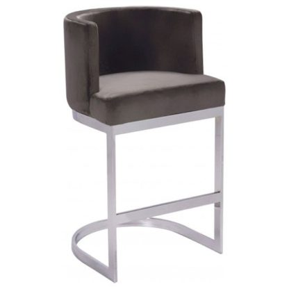 An Image of Lauro Grey Velvet Bar Chair With Silver Stainless Steel Legs