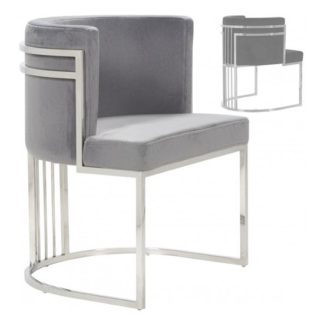 An Image of Casoli Grey Velvet Dining Chairs In Pair With Silver Legs
