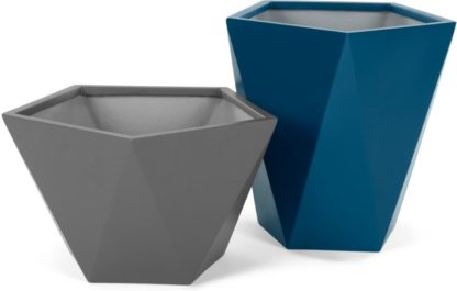 An Image of Baloo Set Of Two Geometric Tall Fibreglass Planters, Grey and Blue