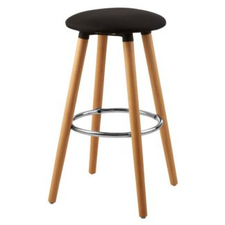 An Image of Porrima Fabric Round Seat Bar Stool In Black