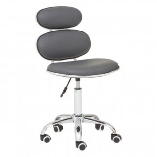 An Image of Netoca Home And Office Leather Chair In Grey With Chrome Base