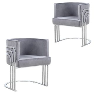 An Image of Lula Grey Velvet Dining Chairs In Pair With Silver Legs