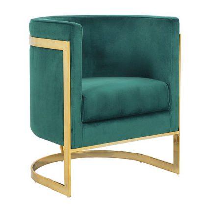 An Image of Fenda Velvet Armchair In Green With Gold Stainless Steel Legs