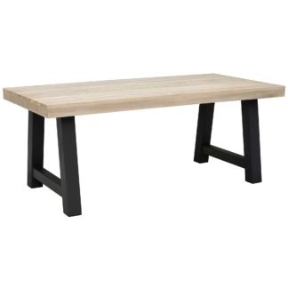 An Image of Beach Garden Dining Table, Graphite And Aged Teak