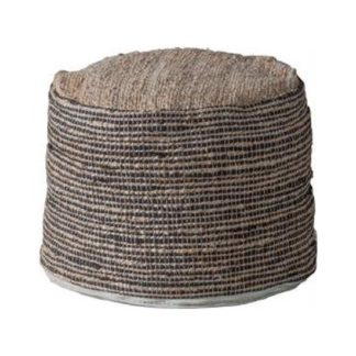 An Image of Castro Fabric Upholstered Round Pouffe In Jute