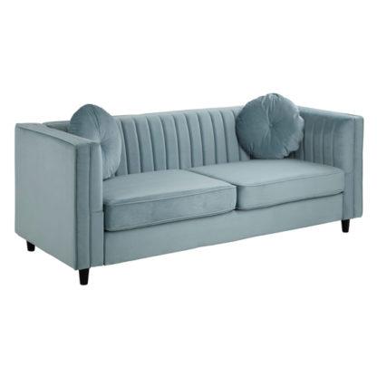 An Image of Felisen Velvet Upholstered 3 Seater Sofa In Midnight Green
