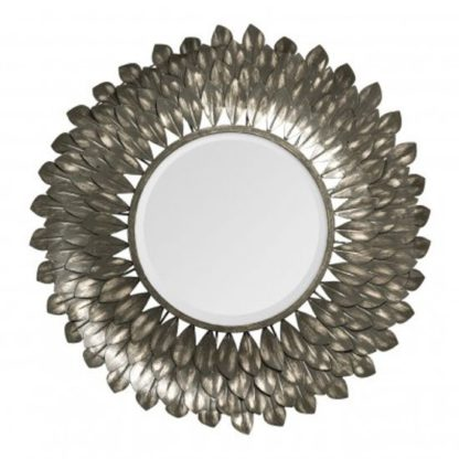An Image of Tribes Wall Bedroom Mirror In Antique Grey Frame