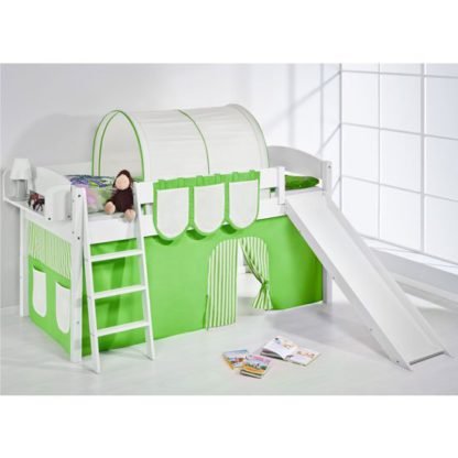 An Image of Lilla Slide Children Bed In White With Green Curtains