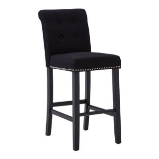 An Image of Trento Park Stud Lined Fabric Upholstered Bar Chair In Black