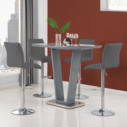 An Image of Ilko High Gloss Bar Table In Grey With 4 Ripple Grey Stools