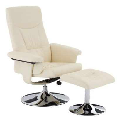 An Image of Tenova Faux Leather Recliner Chair And Footstool In White