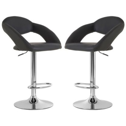 An Image of Talore Grey Faux Leather Gas Lift Bar Chairs In Pair