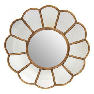 An Image of Varian Floral Wall Bedroom Mirror In Gold Frame