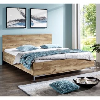 An Image of Mantova 180x200cm Wooden Bed In Planked Oak Effect