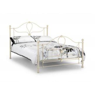 An Image of Vanice Metal Double Bed In Stone White Finish