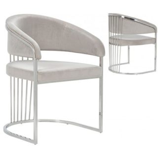 An Image of Longi Beige Velvet Dining Chair In Pair With Silver Legs