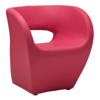 An Image of Alfro Faux Leather Effect Bedroom Chair In Pink