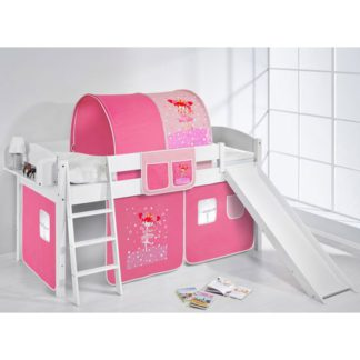 An Image of Lilla Slide Children Bed In White With Princess Curtains