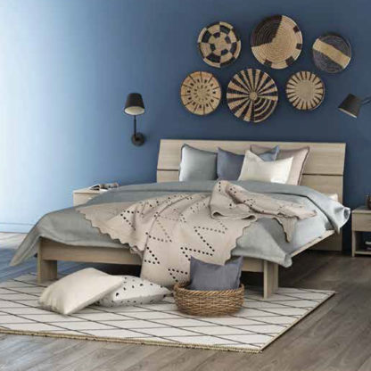 An Image of Prizy Extendable Wooden Double Bed In Shannon Oak