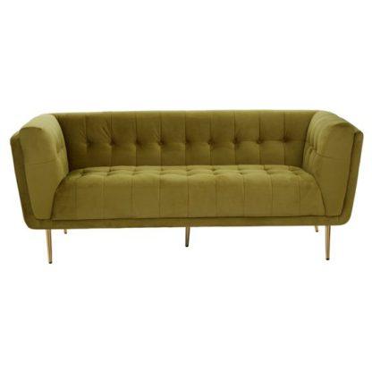 An Image of Harino Velvet Upholstered 3 Seater Sofa In Olive