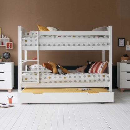 An Image of Buddy Childrens Beech Bunk Bed With Trundle
