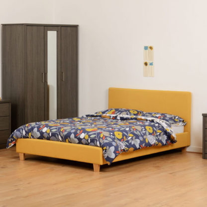 An Image of Prada Fabric Double Bed In Mustard