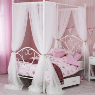 An Image of Isabelle Four Poster Metal Single Bed In White Gloss