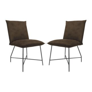 An Image of Lukas Brown Fabric Upholstered Dining Chairs In Pair