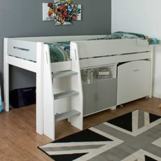 An Image of Urban Grey Childrens Midsleeper Bed with pull out Desk and Cupboard
