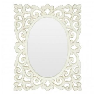 An Image of Stains Lace Design Wall Bedroom Mirror In Weathered White Frame
