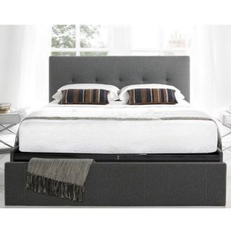 An Image of Wesley Fabric Double Bed In Smoke Grey With 1 Drawer