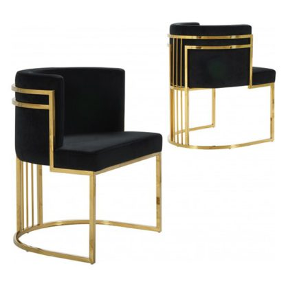 An Image of Casoli Black Velvet Dining Chairs In Pair With Gold Legs
