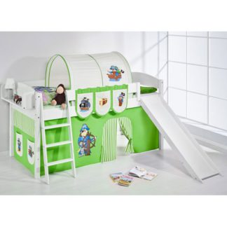 An Image of Lilla Slide Children Bed In White With Pirate Green Curtains