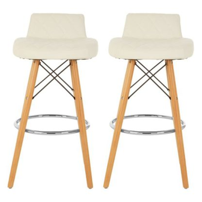An Image of Porrima White Faux Leather Bar Stools With Natural Legs In Pair