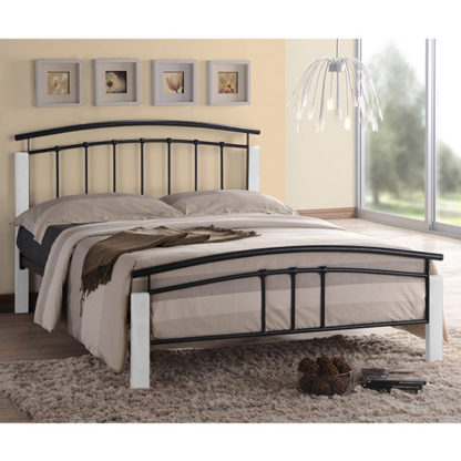 An Image of Tetron Metal Single Bed In Black With White Wooden Posts