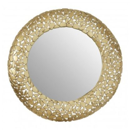 An Image of Templars Pebble Effect Wall Bedroom Mirror In Warm Gold Frame