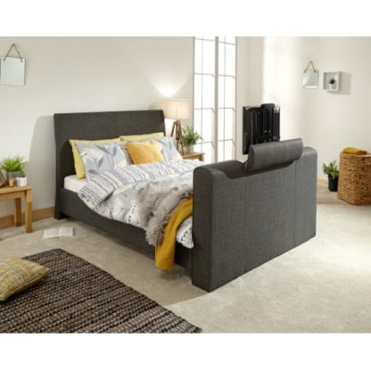 An Image of Vizzini Pneumatic Fabric Double TV Bed In Dark Grey