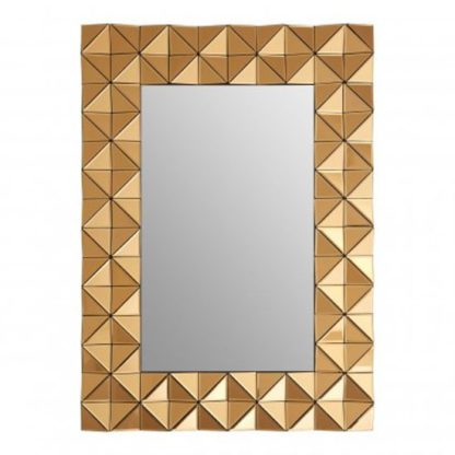 An Image of Soma Rectangular Wall Bedroom Mirror In Smoked Copper Frame