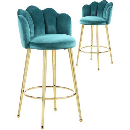 An Image of Mario Green Velvet Bar Stools In Pair With Gold Legs