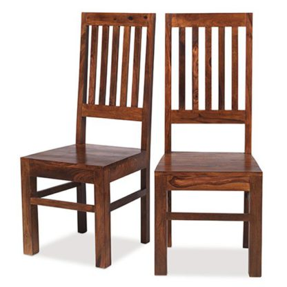 An Image of Zander Wooden High Back Dining Chairs In A Pair With Round Legs