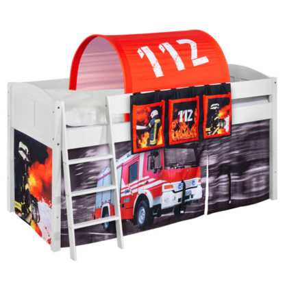 An Image of Hilla Children Bed In White With Fire Department Curtains