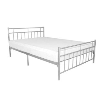 An Image of Davina Metal Double Bed In Silver
