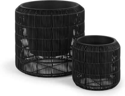 An Image of Nadda Set Of Two Round Polyrattan Plant Stands, Black