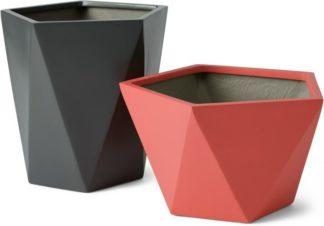An Image of Baloo Set of 2 Geometric Tall Fibreglass Planters, Coral Pink & Dark Grey