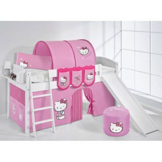 An Image of Lilla Slide Children Bed In White With Kitty Pink Curtains