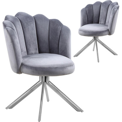 An Image of Mario Grey Velvet Dining Chairs In Pair With Silver Legs