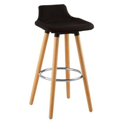 An Image of Porrima Fabric Seat Bar Stool In Black